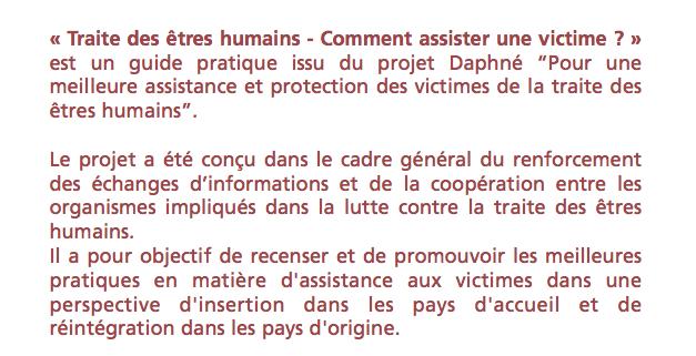 GUIDE PRATIQUE : Comment assister une victime ? — Commission Européenne – Programme Daphné