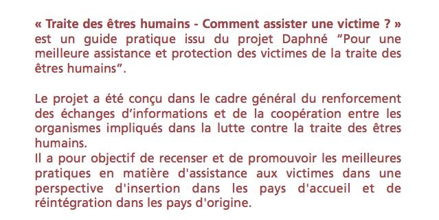 GUIDE PRATIQUE : Comment assister une victime ? – Commission Européenne – Programme Daphné