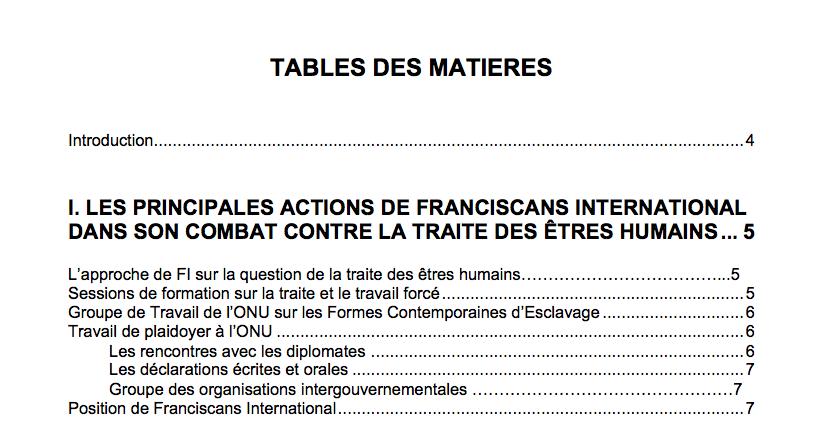 Manuel sur la traite des êtres humains – Franciscans International