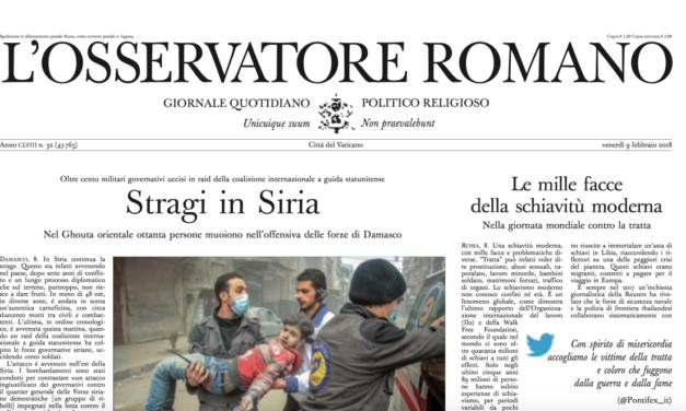Osservatore Romano — Vatican newspaper deplores modern-day slavery / Le mille facce della schiavitù moderna