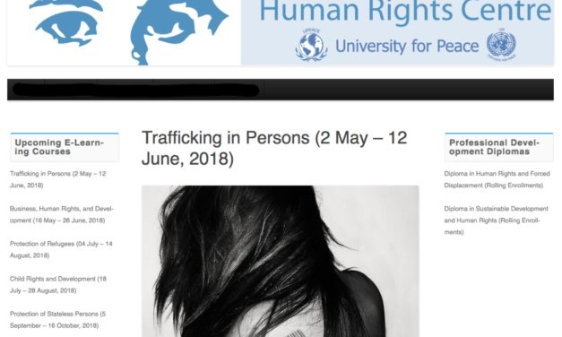 Human Rights Centre — United Nations mandated University for Peace (Cota Rica): Training on Trafficking in Persons (2 May – 12 June,2018)