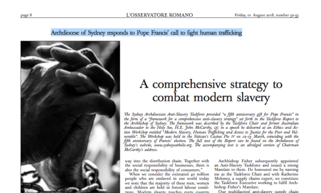 L'OSSERVATORE ROMANO: Archdiocese of Sydney responds to Pope Francis' call to fight human trafficking (MCCARTHY)