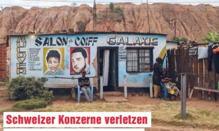 SCHWEIZ 13 SEPT. 18 – Fast einmal pro Monat ist ein Schweizer Konzern im Ausland in die Verletzung von Menschen rechten oder Umweltstandards verwickelt: Eine Analyse von Brot für alle und Fastenopfer zählte in den letzten sechs Jahren mindestens 64 solcher Vorfälle, die auf das Konto von 32 Schweizer Unternehmen gingen