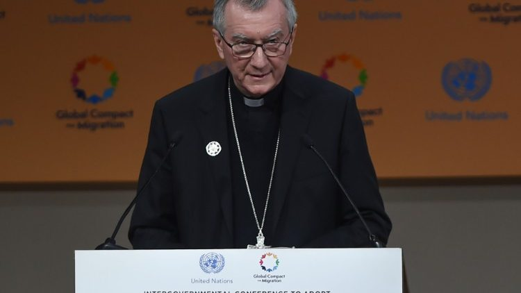 "Holy See's priorities for migrations : ""We must work together to create conditions that allow communities and individuals to live in safety and dignity in their own countries."" — Global Compact for Safe, Orderly and Regular Migration, Marrakech Dec. 2018"