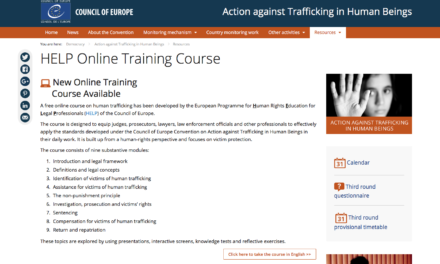 COUNCIL OF EUROPE: free online Human Trafficking course