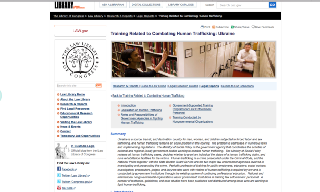 LIBRARY OF CONGRESS / Training Related to Combating Human Trafficking: Ukraine