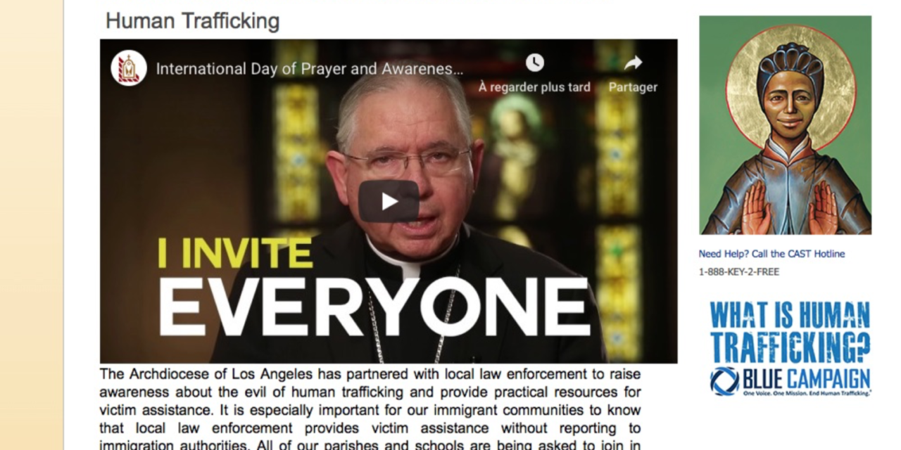 US CALIFORNIA – The Archdiocese of Los Angeles has partnered with local law enforcement to raise awareness about the evil of human trafficking and provide practical resources for victim assistance