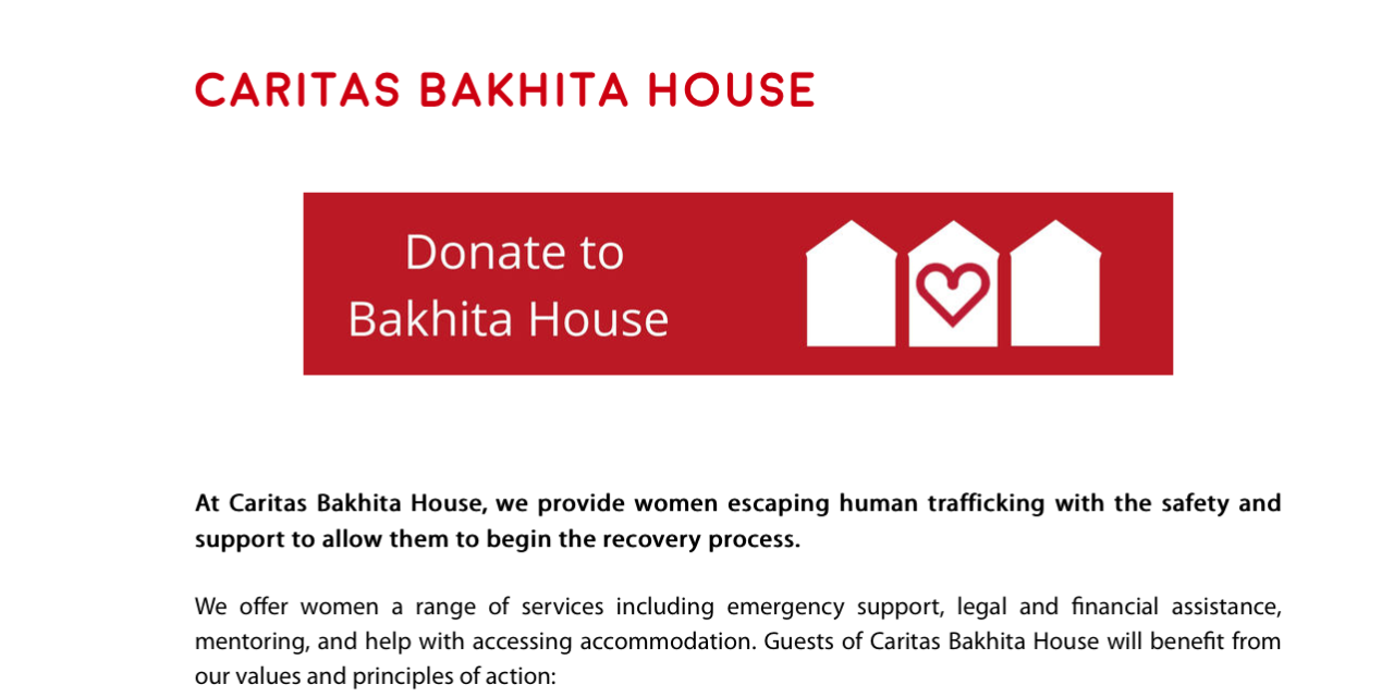 ENGLAND – CARITAS BAKHITA HOUSE IN LONDON