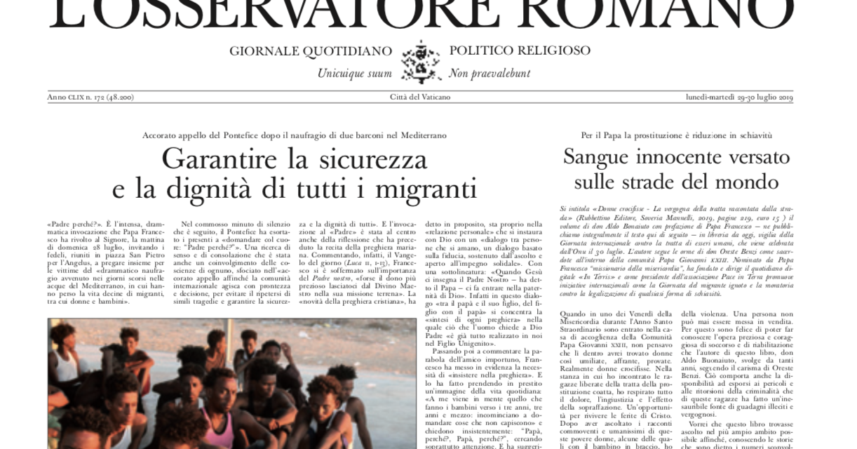 30 TH JULY – OBSERVATORE ROMANO – THE NUMBER OF TRAFFICKED VICTIMS INCEASES