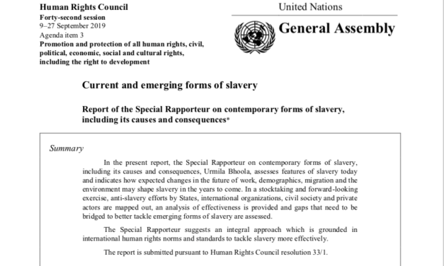 UN GENEVA – Human Rights Council 9–27 September 2019: Current and emerging forms of slavery Report
