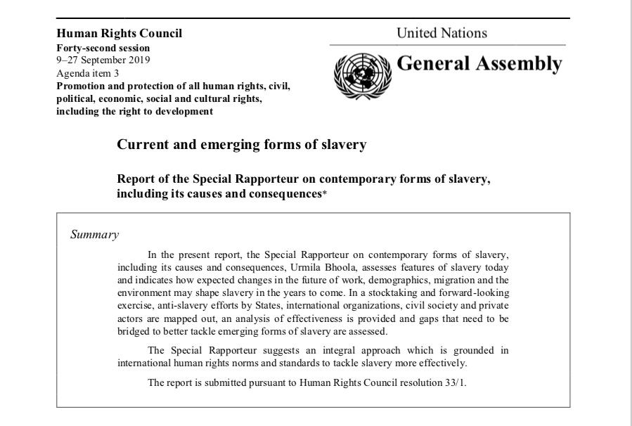 Current and emerging forms of slavery Report of the Special Rapporteur — UN GENEVA — Human Rights Council 9–27 September 2019