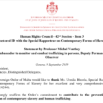 Contemporary Slavery – Statement by the Sovereign Order of Malta – Human Rights Council – Palais des Nations, Genève – 9.9.2019