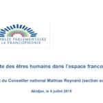 La traite des êtres humains dans l'espace francophone – Rapport du Conseiller national Mathias Reynard (section suisse) – Abidjan, le 6 juillet 2019