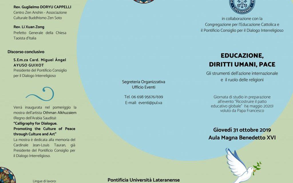 """Pontificia Università Lateranense 31 ottobre 2019 – Evento """"Educazione, Diritti Umani, Pace"""""""
