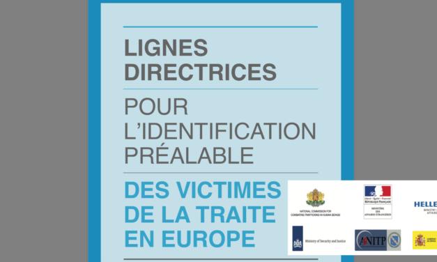 Lignes directrices pour l'identification préalable des victimes de La traite en europe