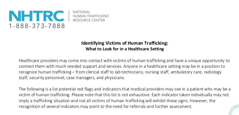 NHTRC USA – Identifying Victims of Human Trafficking: What to Look for in a Healthcare Setting