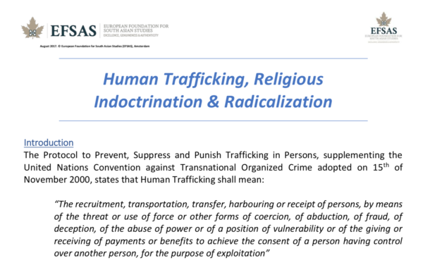 EFSAS: Human Trafficking, Religious Indoctrination & Radicalization