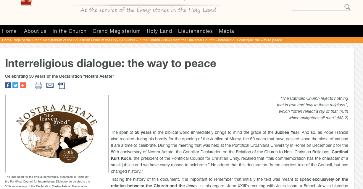 Interreligious dialogue: the way to peace