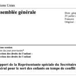 NATIONS UNIES – Rapport de la Représentante spéciale du Secrétaire général pour le sort des enfants en temps de conflit armé A/74/249 – JUILLET 2019