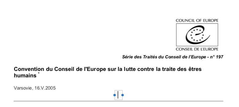 Convention du Conseil de l'Europe sur la lutte contre la traite des êtres humains