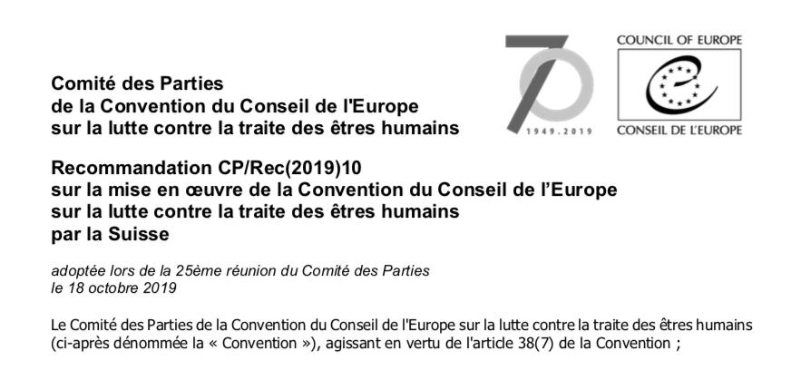 Recommandation CP/Rec(2019)10 sur la mise en œuvre de la Convention du Conseil de l'Europe sur la lutte contre la traite des êtres humains par la Suisse