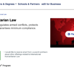 UNIVERSITY OF LOUVAIN – International Humanitarian Law ONLINE COURSE