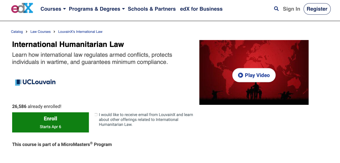 UNIVERSITY OF LOUVAIN – International Humanitarian Law ONLINE COURSE