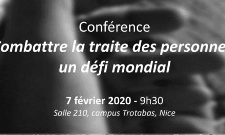 IDPD Université de Nice, 7 février 2020 — Conférence de l'Ambassadeur de l'Ordre de Malte pour la lutte contre la traite de personnes