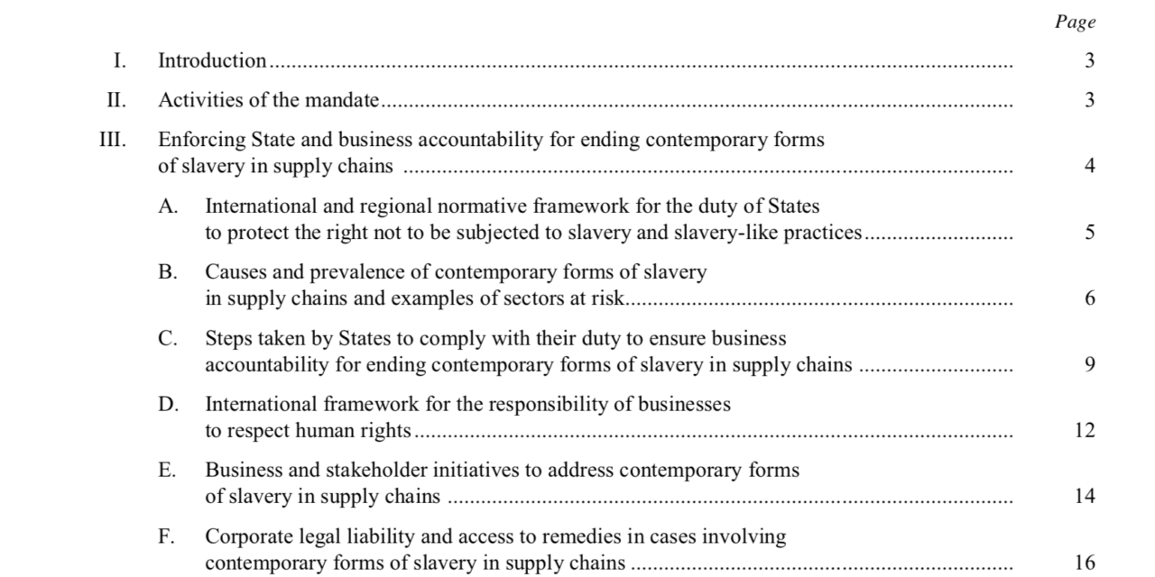 Enforcing State and business accountability for ending contemporary forms of  slavery in supply chains – Report of the Special Rapporteur on contemporary forms of slavery, including its causes and consequences, Urmila Bhoola