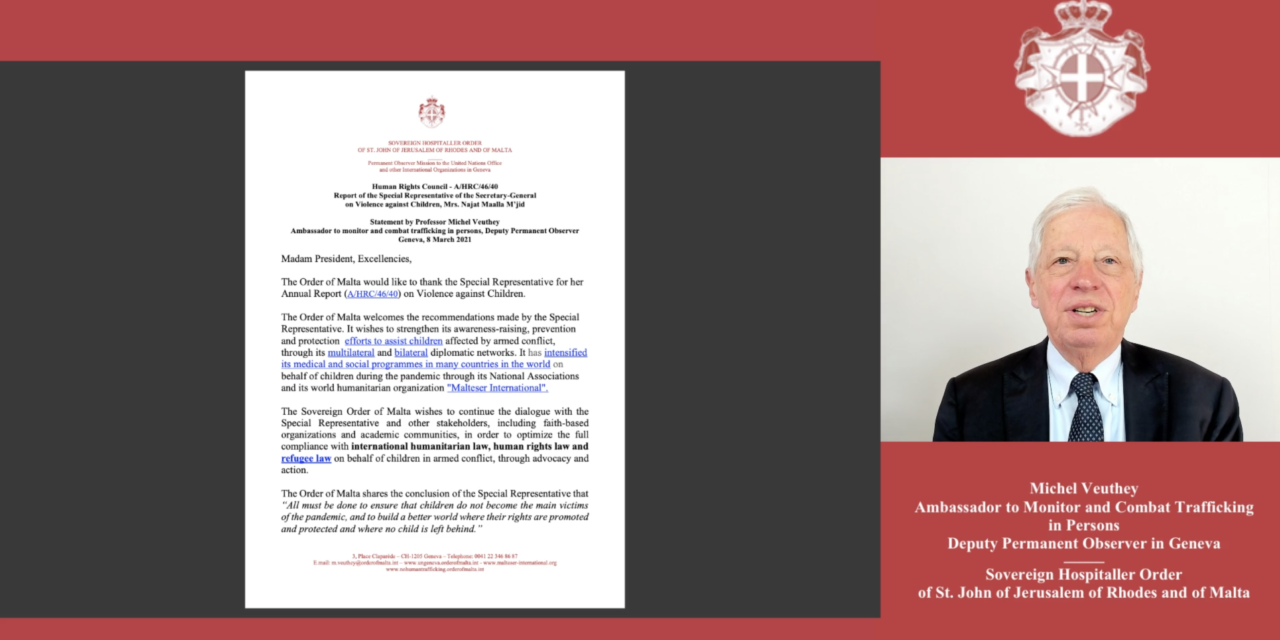 Statement by Professor Michel Veuthey 8 March 2021 — Human Rights Council — A/HRC/46/40 — Report on Violence against Children, Mrs. Najat Maalla M'jid