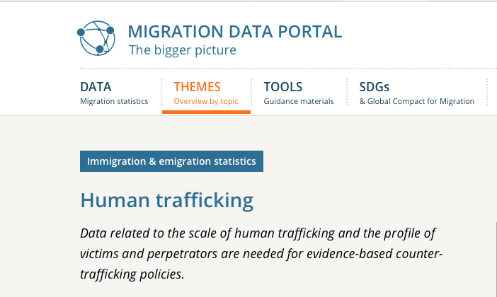 MIGRATION DATA PORTAL — Data related to the scale of human trafficking and the profile of victims and perpetrators are needed for evidence-based counter-trafficking policies