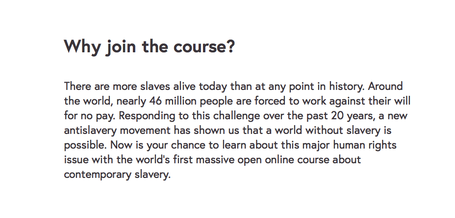KEVIN BALES ONLINE COURSE — Ending Slavery: Strategies for Contemporary Global Abolition